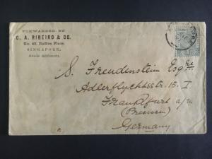 1897 Singapore Cover To Frankfurt Germany C A Ribiero Commercial