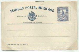 MEXICO 5c lettercard 1897 unused...........................................58744