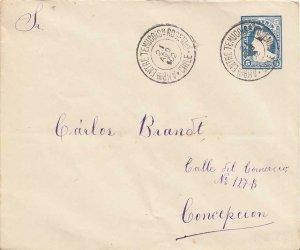 Chile 5c Columbus Envelope 1902 Amb'cia Entre Temuco I Sn Rosendo, Chile to C...