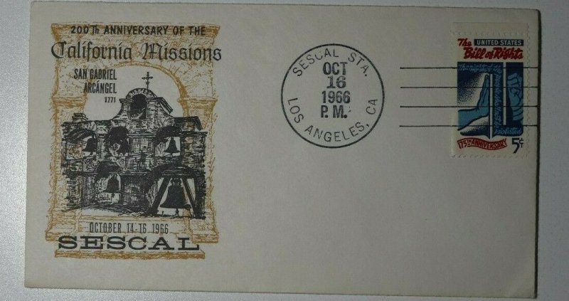 SESCAL Sta Los Angeles California Missions Philatelic Expo Cachet Cover