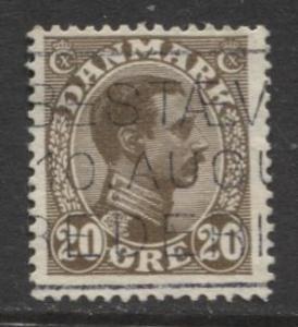 Denmark - Scott 104 - King Christian X Issue -1921 - Used - Single 20o Stamp