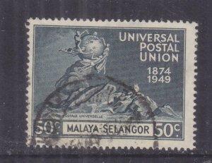 SELANGOR, MALAYA, 1949 UPU 50c. Blue Black, used.