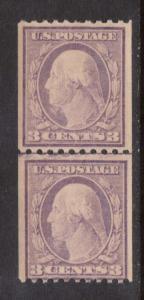 USA #489 NH Mint Line Pair