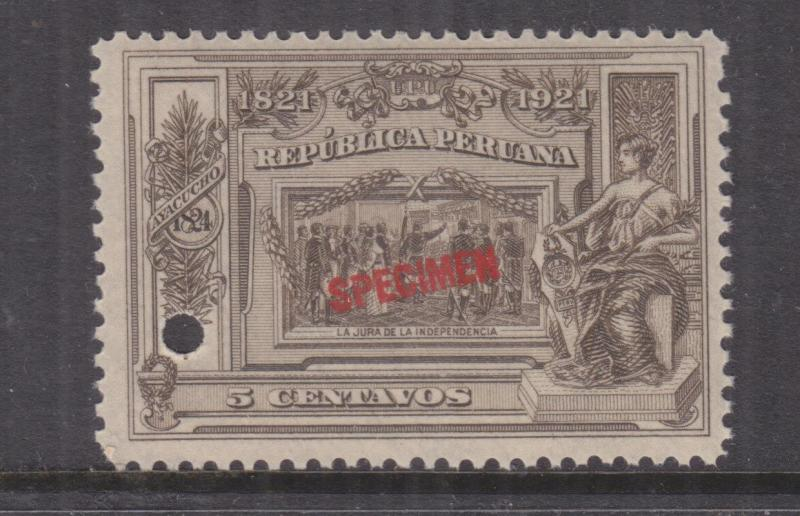 PERU, 1921 Centenary Independence, 5c., ABN Punched Proof, SPECIMEN in Red, mnh