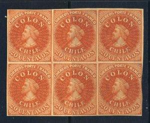CHILE 1857-1865 20c. COLON  Chile #12  HANN REPRINT BLOCK OF SIX  MINT