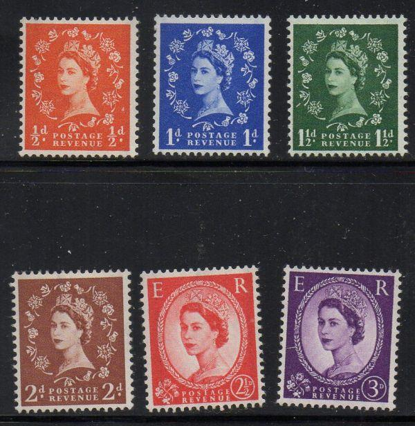 Great Britain Sc 317c-322d 1957-9 QE II graphite lines stamp set mint