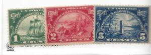United States, 614-16, Huguenot-Wallace 1924 Singles, MNH