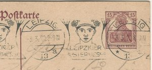 Germany Inflation Period 1920 15 pf. Domestic PC, Leipzig Muster Messe Slogan
