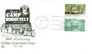 Camp Roosevelt 2037 Civilian Conservation Corps w/ .01 FDR Stamp Camp Roosevelt