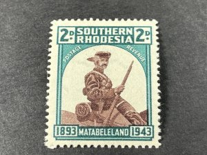 SOUTHERN RHODESIA # 64*(SG # 61a)-MINT/HINGED---RETOUCHED HAT BRIM VAR.---1943