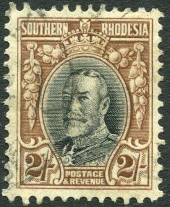 SOUTHERN RHODESIA-1935 2/- Black & Brown Perf 11½ Sg 25a FINE USED V35953