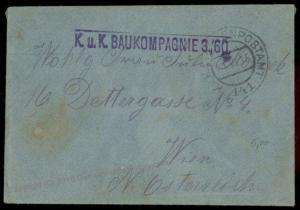 Austria Empire WWI Feldpost KuK Baukompagnie 3 Cover 68021