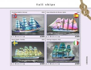 YEAR 2020/10- LIBERIA- TALL SHIPS        4V complet set    MNH ** T