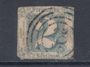 Thurn & Taxis Sc 19 used 1863 2sgr blue imperf Numeral
