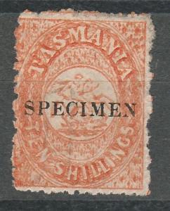 TASMANIA 1863 ST GEORGE AND DRAGON 10/- SPECIMEN NO GUM