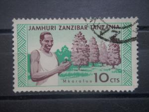 ZANZIBAR, 1966, used 10c, Clove trees & man. Scott 336