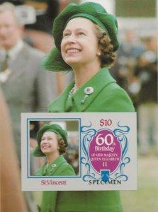 ST.VINCENT-1986 60TH BIRTHDAY QUEEN ELIZABETH,OVERPRINT SPECIMEN  S/SHEET IMPERF
