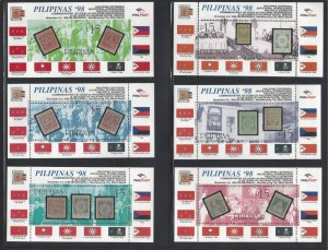 2561-2565 Philippines '98 IPEX CV$40 (6 Sheets including 2nd Printing Im...
