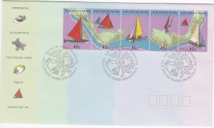 Cocos Islands # 292, Sailing Craft, Map, First Day Cover