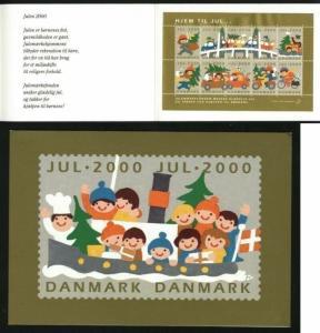 Denmark. Christmas Seals 2000.Souvenir Folder. Car,Motorbike,Ferry Bike,Bridge