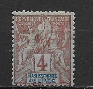 French India 3 1892-1907 4c Navigation and Commerece single MH