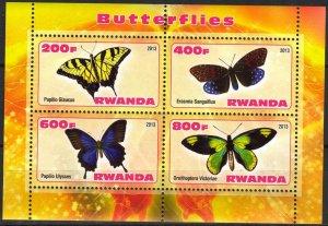 Rwanda 2013 Butterflies (3) MNH Cinderella !