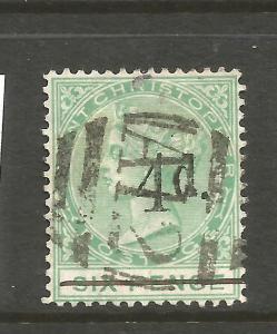 ST KITTS  1886  4d on 6d  QV  FU    SG 25