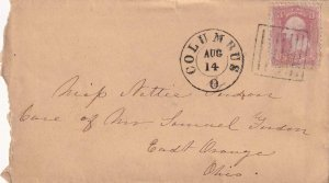 186X, Columbus to East Orange, OH with Prison Bar Fancy Cancel (41938)