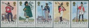 Alderney 1985 SGA23-A27 Regiments set MNH