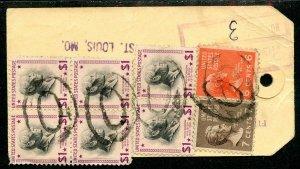 U.S. Scott 832 (6), 812, 811 Prexies On 1955 Illinois Bank Tag