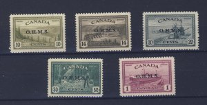 5x Canada OHMS Stamps #O6-10c To O10 $1.00 MH VF Guide Value = $360.00