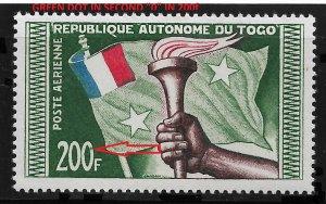 TOGO 1957,Airmail,200fr,Sc # C24,Error in 0 in 200fr Green Dot,VF MNH** (FR-1)
