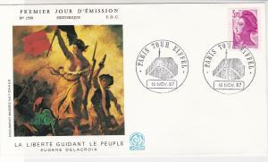 France 1987 Eugene Delacroix Painter Slogan Cancels Lady Stamp FDC Cover Rf31657