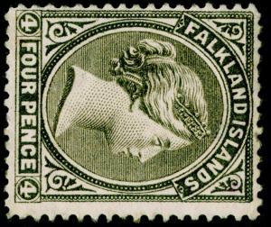 FALKLAND ISLANDS SG10, 4d grey-black, M MINT. Cat £400. WMK SIDEWAYS
