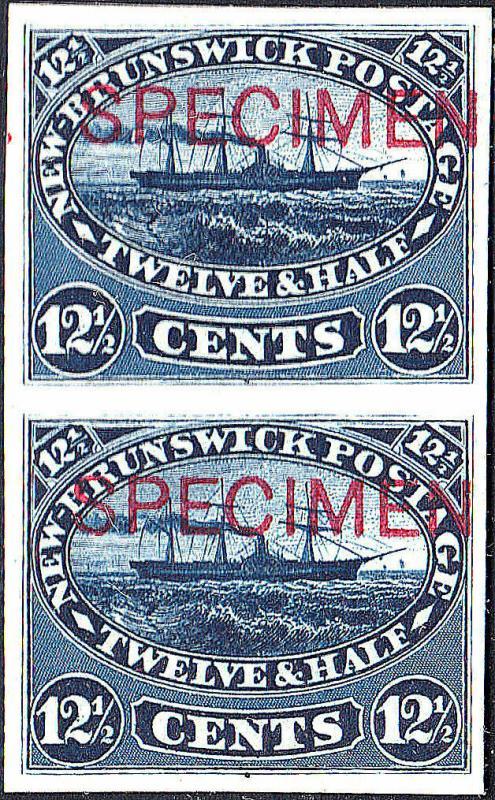 NEW BRUNSWICK 10P PAIR on Card, SPECIMEN Ovpt. (122018)