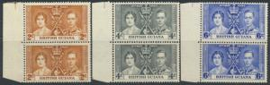 British Guiana SG 305/7 Mint Never Hinged pairs   (Sc# 227/9 see details)