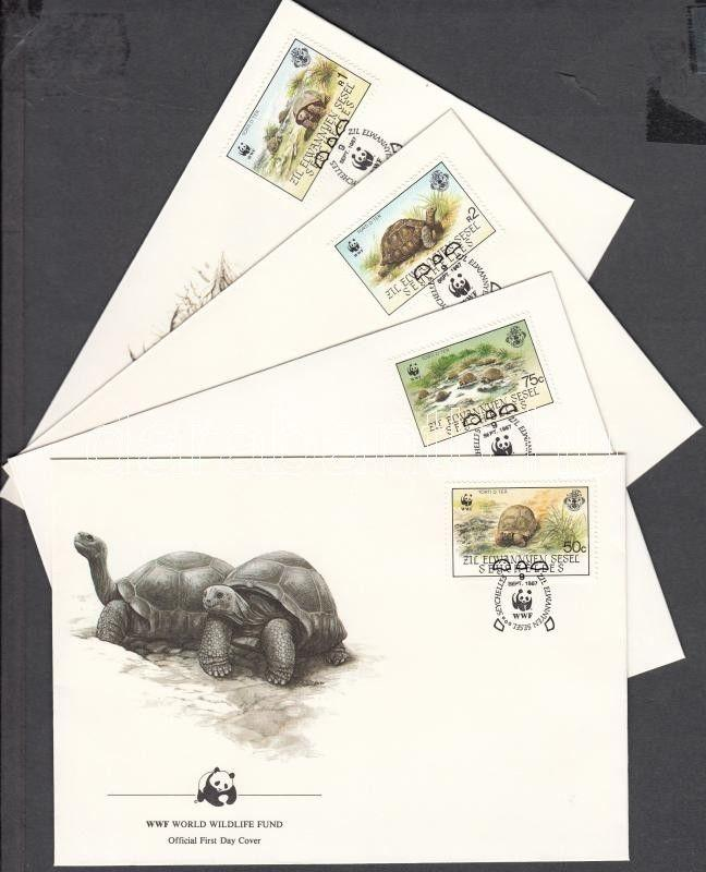 Seychelles-Zil Elwannyen Sesel stamp WWF Turtles set 4 FDC Cover 1987 WS143104
