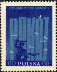 POLOGNE / POLAND - 1955 Mi925A 60gr perf. 5th Warsaw Youth Festival Mint**