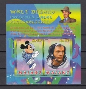 Malawi, 2009 Cinderella issue. Mickey Mouse & Neil Armstrong, Space sheet of 2.