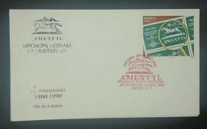 A) 1990, MEXICO, MEXICAN PHILATELY ASSOCIATION, FDC, RED CANSELLATION SEAL X PHI