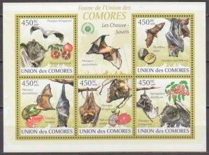 2009 Comoro Islands 2455-59KL The bats / Fruits 10,00 €