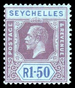 Seychelles 1921 KGV 1r50c purple & blue/blue very fine mint. SG 121. Sc 112.