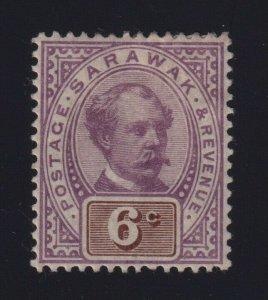 Sarawak Sc #13 (1888-97) 6c lilac & brown Charles Johnson Brooke Mint VF H
