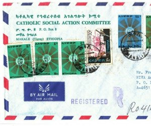 ETHIOPIA Cover Makale Registered *Catholic Social Action* MISSIONARY 1981 EB116