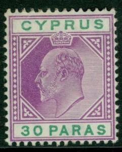CYPRUS SG63, 30pa purple & green, VLH MINT. Cat £16.