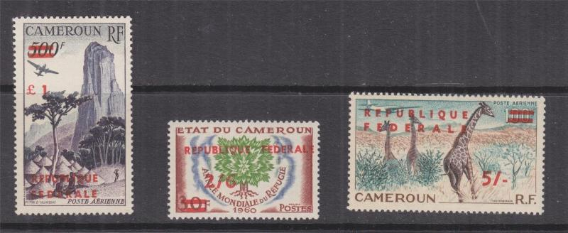 CAMEROON, 1961 Republique Federal 2s.6 on 30f., 5s. on 100f. & One Pound on 500f