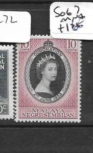 MALAYA NEGRI SEMBILAN (P0301B) QEII CORONATION SG 67  MNH