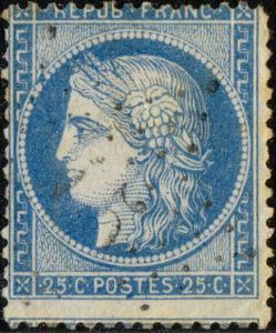 FRANCE - Yv.60A 25c (T.1) non planché, étoile 15 (R.Bonaparte) - pli d'angle
