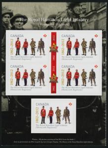Canada 2579 Left Booklet Pane MNH Royal Hamilton Light Infantry Regiment