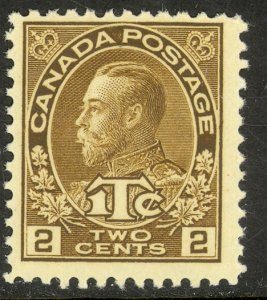 CANADA 1916 KGV 2c + 1c Brown WAR TAX STAMP Sc MR4 MLH